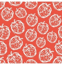 Strawberry seamless pattern hand-drawn vector image