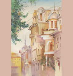 watercolor painting of old buildings vector image