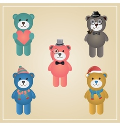 Winter Hipster Teddy Bear vector image vector image