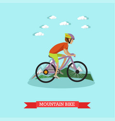 boy riding mountain bike in vector image vector image