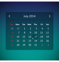 Calendar page for July 2014 vector image vector image