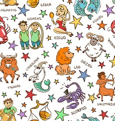 Funny Seamless Pattern of Zodiac Signs vector image vector image