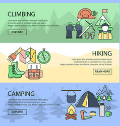 mountaineering horizontal linear banners set vector image vector image