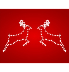 Two shiny red background reindeer vector image vector image