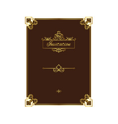 vintage invitation with decorative frame vector image