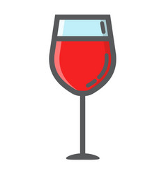 wine glass filled outline icon food and drink vector image vector image