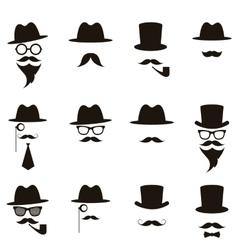 Black gentleman portrait icon set vector image vector image