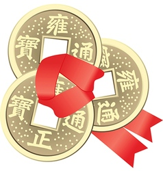 Chinese Feng Shui Coins for Wealth and Success vector image