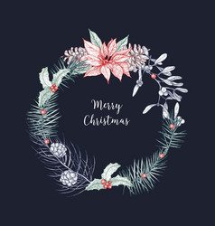 christmas wreath made of branches and cones of vector image