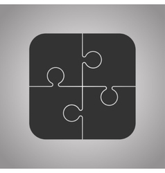 Four Black Piece Puzzle Round Infographic 4 Step vector image vector image