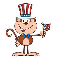 patriotic monkey cartoon character vector image vector image
