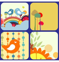 retro flowery design greeting cards vector image vector image