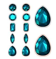 set of five forms of dark green gemstone cut vector image