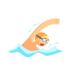 young man with goggles swimming in the pool vector image