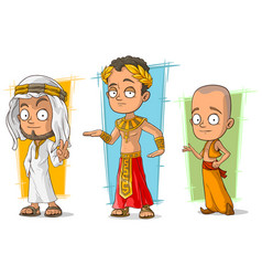 cartoon arabian egyptian and asian character set vector image vector image