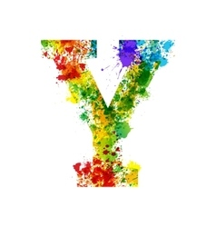 Color Paint Splashes Gradient Font vector image vector image