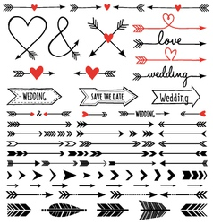 hand-drawn arrows set vector image vector image