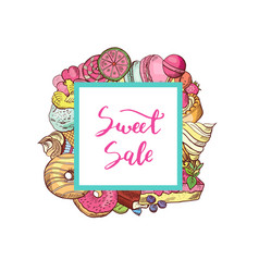 hand drawn colored sweets vector image vector image