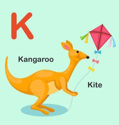 isolated animal alphabet letter k-kite kangaroo vector image