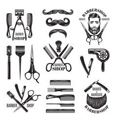 Set of different barber shop tools vector
