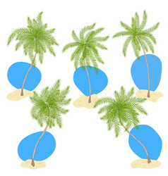 Set of palm trees with sand and blue sky vector