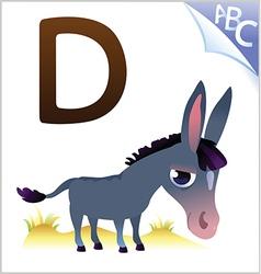 Animal alphabet for kids d for donkey vector