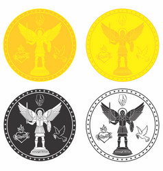 Archangel michael medal gold and black fill vector