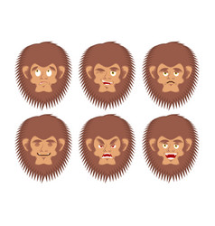 Bigfoot emoji set yeti sad and angry face vector