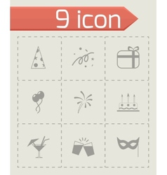 black party icons set vector image