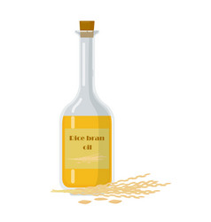 Bottle with rice bran oil and stalks vector