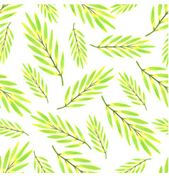 Bright tropical leaves watercolor seamless vector