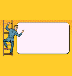 businessman climbs stairs man points to copy vector image