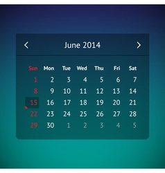 Calendar page for June 2014 vector image