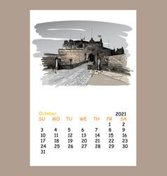 Calendar sheet layout october month 2021 year vector