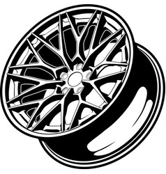 Car wheel line art vector