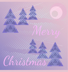 cartoon background with christmas treessnowstorm vector image