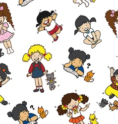Cartoon cats girls pattern including seamless vector