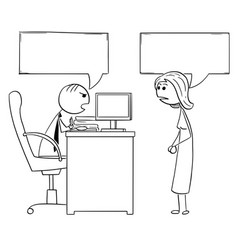 cartoon of boss manager talking with female vector image