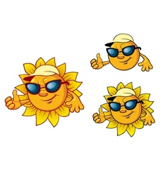 Cartoon style sun character vector