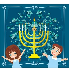 children celebrating Hanukkah abstract card vector image