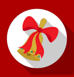 christmas red bow icon on red background with long vector image