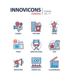 cinema concept - set of modern thin line design vector image