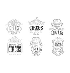 circus show hand drawn retro labels set glad to vector image