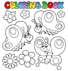 Coloring book three butterflies vector