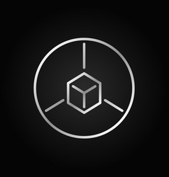 Cube in circle outline silver icon ar line vector