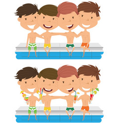 Cute boys sit at the edge of the pool and embrace vector