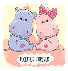 Cute cartoon hippos boy and girl vector