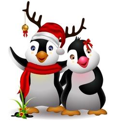 cute penguin cartoon couple vector image