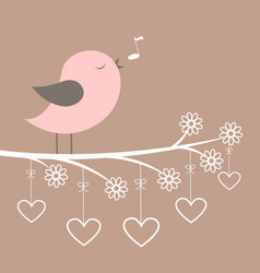 Cute pink bird sing with lacy flowers and hearts vector