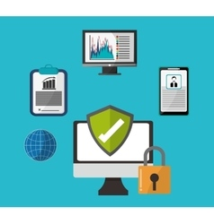 Cyber security with computer design vector image